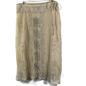 Sweet by Miss Me Boho Sequined Silk Skirt Sz Large